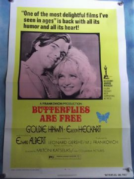 Butterflies are Free, Movie Poster, Goldie Hawn, Eileen Eckhart '72